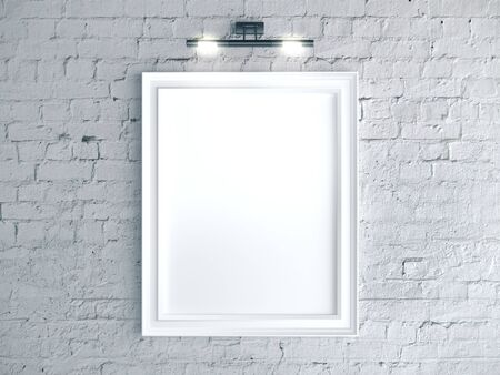 Blank poster on a brick wall. Gallery, art, exhibit and museum concept. Mock up, 3D Rendering