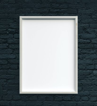 Blank poster on blue brick wall. Gallery, art, exhibit and museum concept. Mock up, 3D Rendering Stock fotó