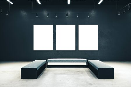 Clean exhibition hall with three empty billboard and bench. Gallery, art, exhibit and museum concept. Mock up, 3D Rendering Stock fotó