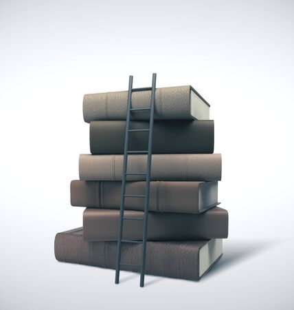 Stack of books and ladder.  Business idea concept. Mock up, 3D Rendering Stok Fotoğraf