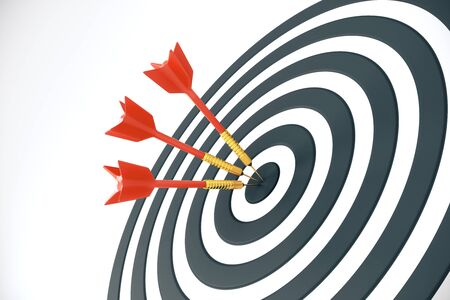 Close up of success dart board target with red arrows on white background. Bullseye concept. 3D Rendering