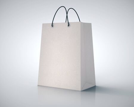 Blank white paper shopping bag on gray background. Mock up, 3D Rendering