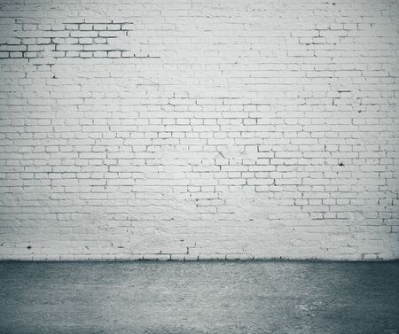 Gray brick wall and concrete floor. Vintage background, 3D Rendering Stockfoto