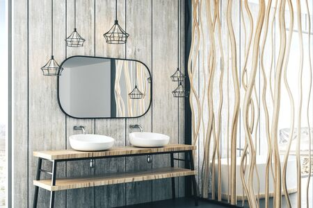Luxury bathroom with loft details, white bath, wooden canes wall and nature view. 3d rendering
