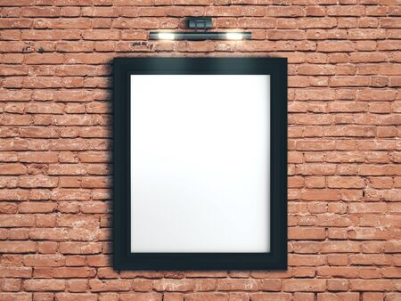 Blank poster on a red brick wall. Gallery, art, exhibit and museum concept. Mock up, 3D Rendering