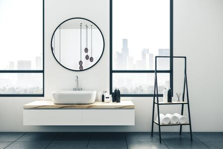 Modern bathroom interior with city view and daylight. Loft design and style concept. 3D Rendering