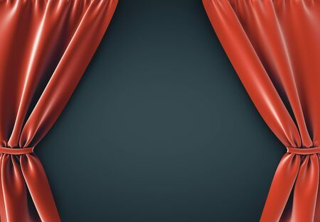 Open red curtains on black background. Theater or movie presentation concept. 3D Rendering