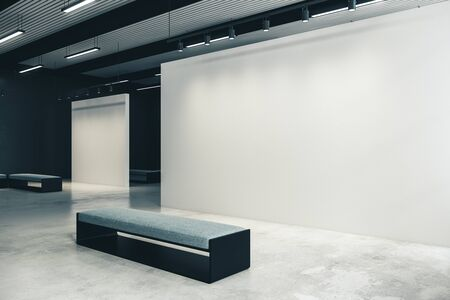 Modern exhibition hall with copy space on wall and bench. Gallery, art, exhibit and museum concept. Mock up, 3D Rendering