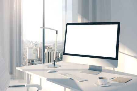 Designer desk with empty screen in office interior with city view. Web design concept. Mock up, 3D Rendering Stock Photo