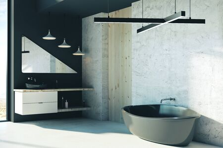 Luxury bathroom interior with furniture and sunlight. 3D Rendering Stockfoto
