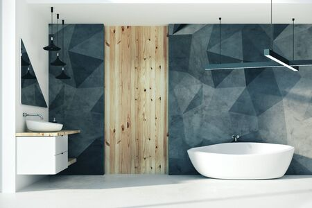 Stylish bathroom interior with furniture and sunlight. 3D Rendering