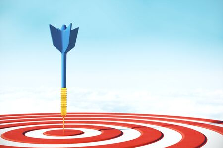 Success dart board target with arrows on sky background. Targeting concept. 3D Rendering Stock fotó