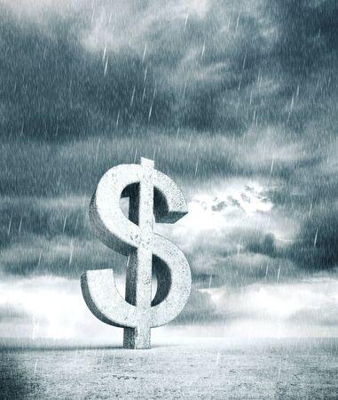 Silver dollar symbol on bad rainy weather  background. 3D rendering Stock fotó