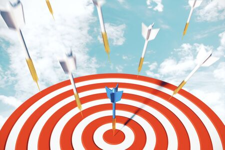Success dart board target with arrows on sky background. Goal concept. 3D Rendering