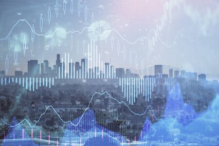 Forex chart on cityscape with skyscrapers wallpaper multi exposure. Financial research concept. Stock Photo