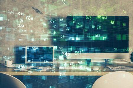 Disegno del tema tecnologico e spazio di lavoro con il computer. Multi esposizione. Concetto di innovazione.