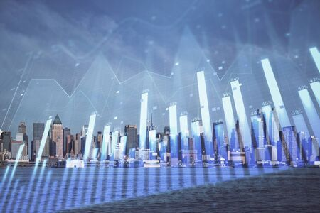 Forex chart on cityscape with skyscrapers wallpaper double exposure. Financial research concept. Zdjęcie Seryjne - 131716986