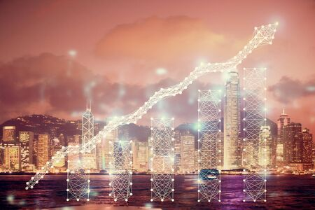 Multi exposure of forex chart drawings over cityscape background. Concept of success. Zdjęcie Seryjne - 131722941