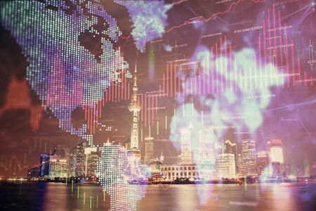 Financial graph on night city scape with tall buildings background multi exposure. Analysis concept. Zdjęcie Seryjne - 131722816