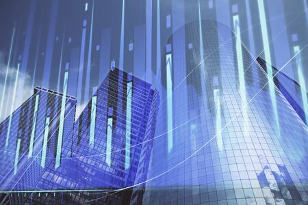 Forex chart on cityscape with skyscrapers wallpaper multi exposure. Financial research concept. Reklamní fotografie