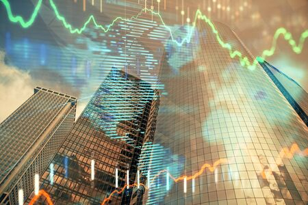 Forex chart on cityscape with skyscrapers wallpaper multi exposure. Financial research concept. Stok Fotoğraf