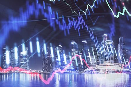 Financial chart on city scape with tall buildings background multi exposure. Analysis concept.