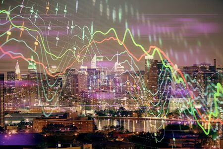 Double exposure of forex chart drawings over cityscape background. Concept of success. Stock Photo