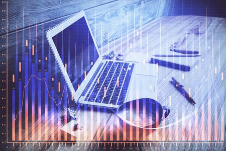 Multi exposure of forex graph and work space with computer. Concept of international online trading. Stok Fotoğraf - 131958442