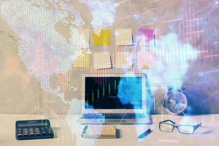 Double exposure of forex graph and work space with computer. Concept of international online trading. 写真素材