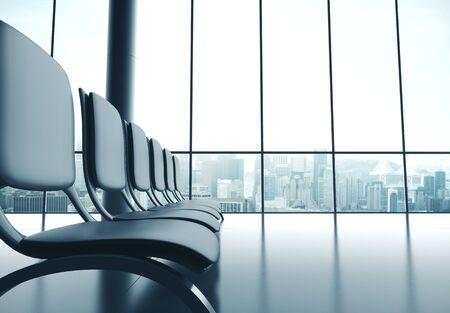 Airport with big window. Travel and transportation concept. 3d rendering