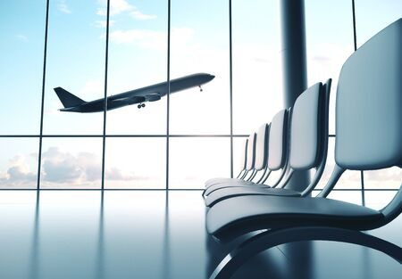Airport with big window and airplane flying in sky. Travel and transportation concept. 3d rendering 版權商用圖片