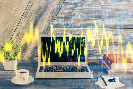 Double exposure of forex graph and work space with computer. Concept of international online trading. 스톡 콘텐츠