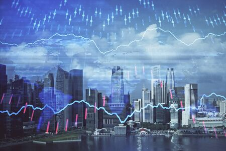 Forex chart on cityscape with skyscrapers wallpaper multi exposure. Financial research concept. 版權商用圖片