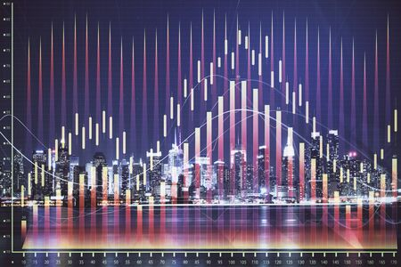 Financial graph on night city scape with tall buildings background multi exposure. Analysis concept. Zdjęcie Seryjne - 133356667