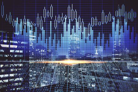 Financial graph on night city scape with tall buildings background multi exposure. Analysis concept. Zdjęcie Seryjne - 133356670