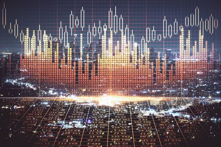 Financial graph on night city scape with tall buildings background multi exposure. Analysis concept. Zdjęcie Seryjne - 133356720
