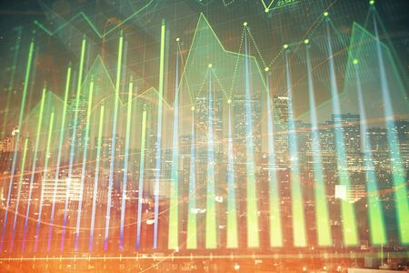 Financial graph on night city scape with tall buildings background multi exposure. Analysis concept. Zdjęcie Seryjne - 133356721