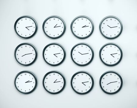 Many clock on white wall. Time zones concept. Close Up. 3D rendering 版權商用圖片