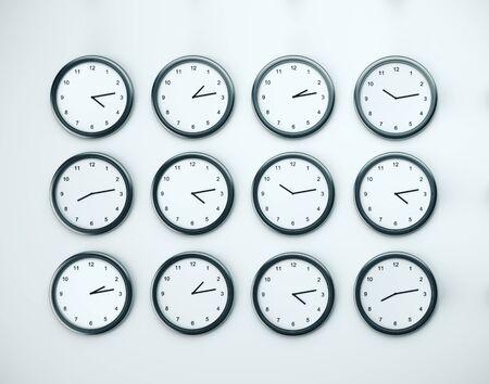 Viele Uhr auf weißer Wand. Zeitzonen-Konzept. Nahaufnahme. 3D-Rendering Standard-Bild