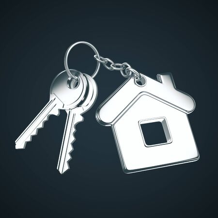Key with key chain in form of house on a gray background. 3D Rendering
