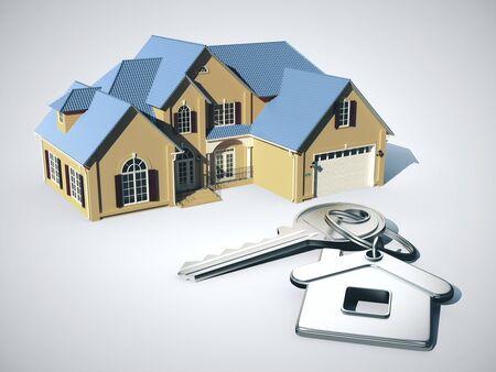 Casa modello e chiave con portachiavi. Immobiliare e concetto di casa. Rendering 3D Archivio Fotografico