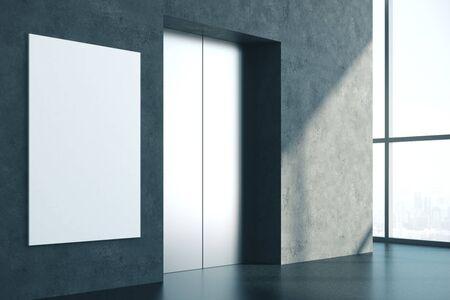 Interni moderni in cemento con ascensore, banner vuoto e luce solare. Successo e concetto di avvio. Mock up, rendering 3D Archivio Fotografico