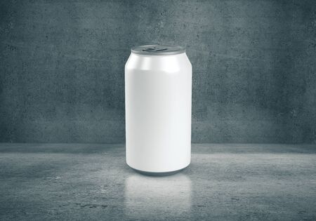 Front view of aluminum can on concrete interior. 3D Rendering
