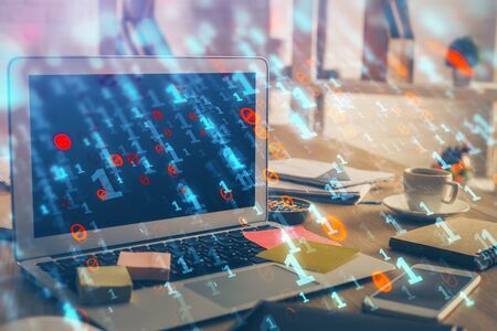 Technology theme drawing and work space with computer. Double exposure. Concept of innovation. 스톡 콘텐츠