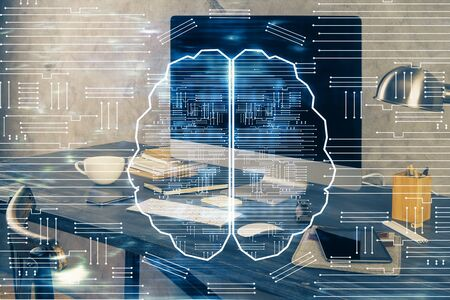 Double exposure of table with computer and brain hologram. Data innovation concept. 스톡 콘텐츠