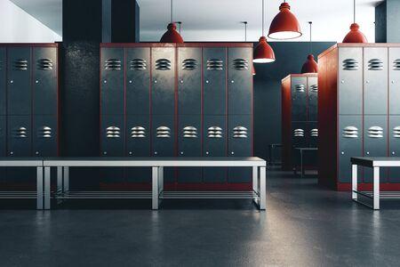Interior de la escuela de gimnasio de vestuario limpio. Representación 3D