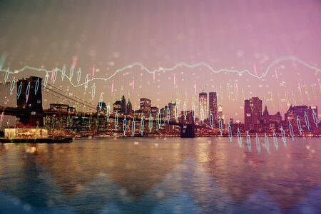 Financial graph on night city scape with tall buildings background multi exposure. Analysis concept. Imagens