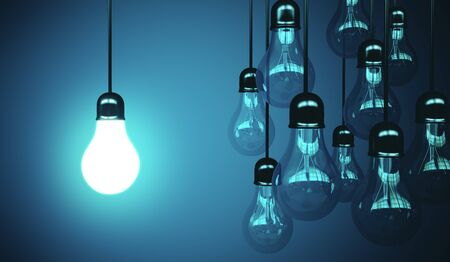 lamps hanging the wire and one glows. Business idea concept. 3d rendering