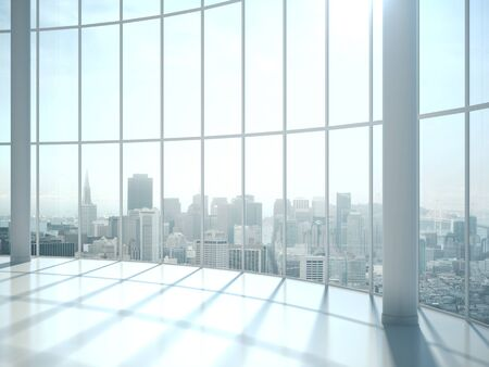 Modern sunlight hall office with big window to city, Design and living concept. Mock up, 3D Rendering