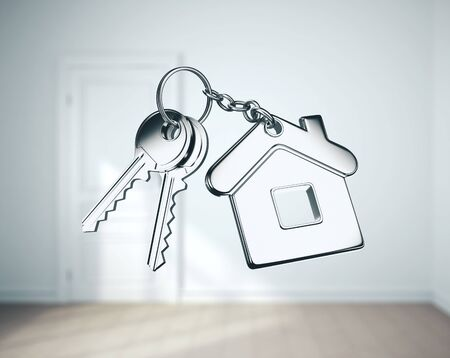 Key with key chain in form of house in room. 3D Rendering